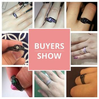 MDEAN Black Gold Color Wedding Rings for Women Engagement black AAA Zircon Jewelry Femme Bijoux Bague Size 6 7 8 9 10 H437