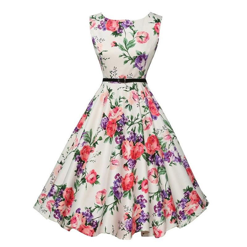 50s Rockabilly Dresses Floral Print Retro Vintage 60s Party Audrey Hepburn Dress Summer Vestidos