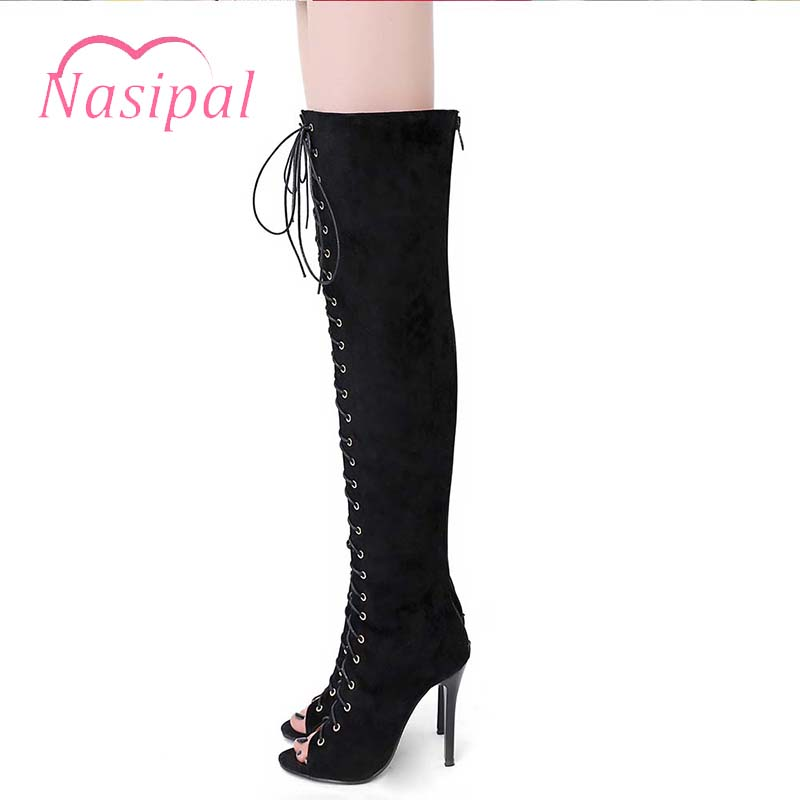Nasipal 2018 New Cross Tie Gladiator Lace Up Thigh High Over The Knee High Sandal Boots Sexy Pointed Toe High Heels Stilettos new sexy heels punk style lace up stiletto thigh high boots women sexy pointed toe cut out over the knee gladiator boots