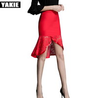 Women Skirt 2017 New Midi Bodycon Office Women Slim mid calf High Waist Stretch Sexy lace trumpet mermaid Skirts Jupe Femm