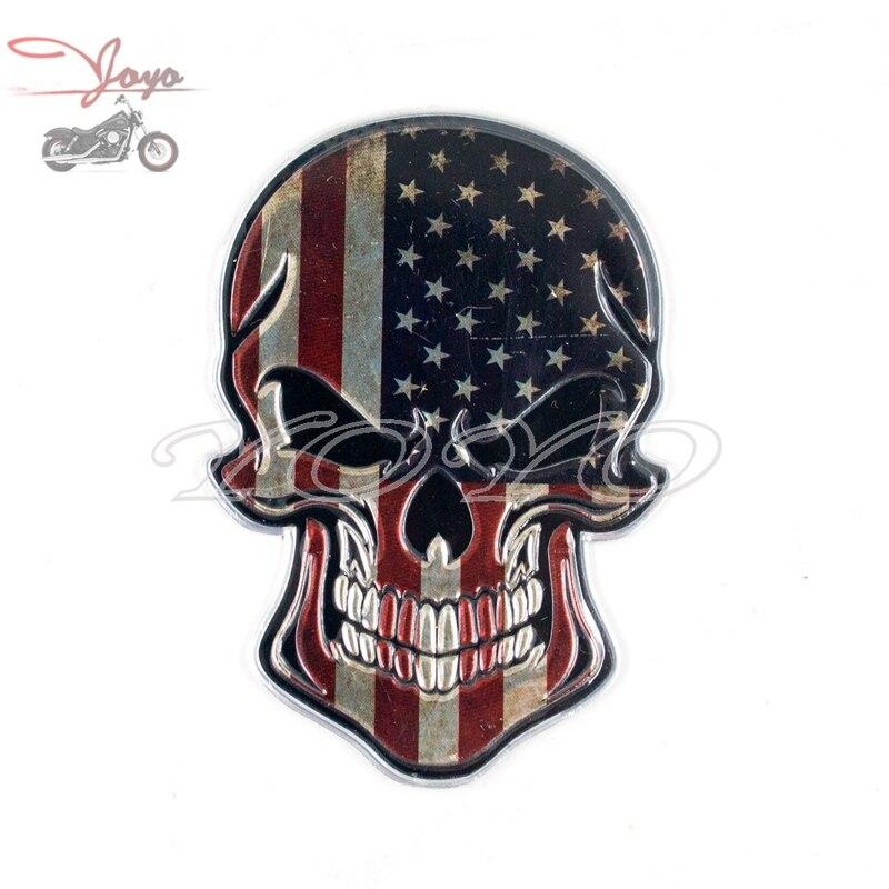 3 USA Skull Decal Graphic for Honda Kawasaki Suzuki Yamaha Harley