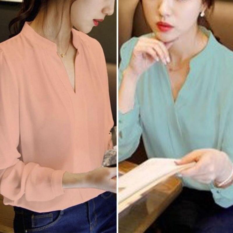 HTB14XouNVXXXXXcXpXXq6xXFXXXU - Women Chiffon Blouse Ladies V-neck Long Sleeve Shirt