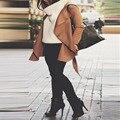 Сексуальная Женщин ИСКУССТВЕННАЯ Кожа С Длинным Рукавом Байкер Мотоциклетная Куртка Пальто Тонкий Верхняя Одежда