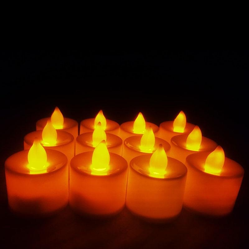 6pc batareya ilə işləyən LED şam rəngli lampa simulyasiya rəng - Ev dekoru - Fotoqrafiya 6
