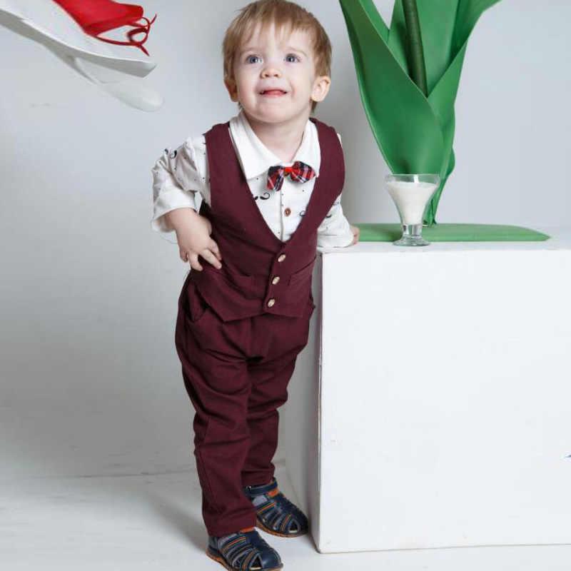 Vestidos de niños para niños ropa formal traje de caballero estilo chaqueta de bebé + Camiseta + Pantalones moda 3 uds otoño traje de niño