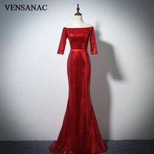 VENSANAC 2017 New Mermaid Sequined Boat Neck Long Evening Dresses Half Cap Sleeve Elegant Sweep Train Velour Party Prom Gowns