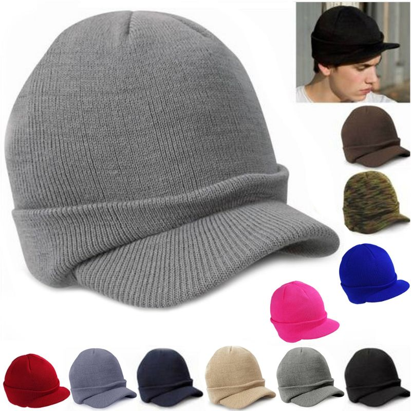 Men Women Knit Baggy  Oversize Winter Hat Ski Slouchy Chic Visors Cap