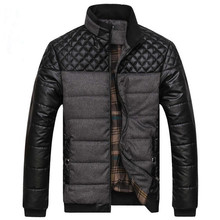 Mens Winter Jacket Casual PU Leather Patchwork Coat New 2017 Brand Fashion Parka Men Male Outwear Thick Warm Jacket Coats L-4XL