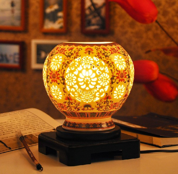 Hand carved ivory color glazed chinese porcelain ceramic bedside hand carved ivory color glazed chinese porcelain ceramic bedside table lamps aloadofball Images