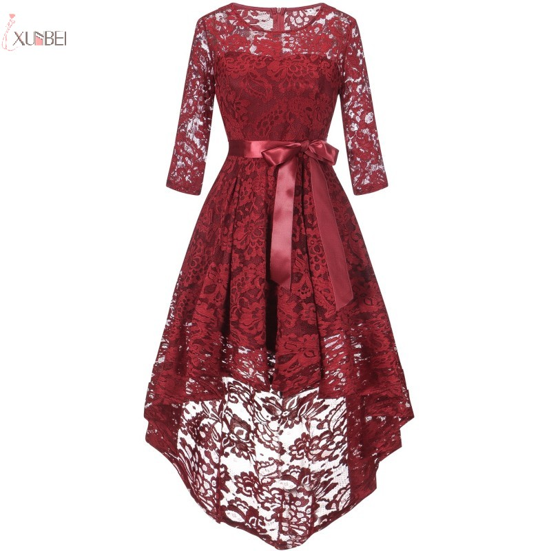 2019 Burgundy Lace Short   Evening     Dress   High Low Scoop Neck Half Sleeve   Evening   Gown robe de soiree