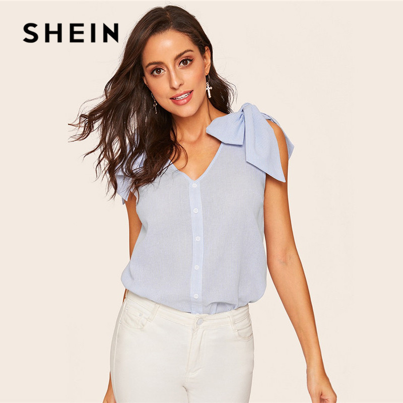 dad55b2cc8 SHEIN Blue Casual Bow Knot Shoulder Button Up Striped Women Blouse Summer  Boho V Neck Sleeveless Womens Tops And Blouses