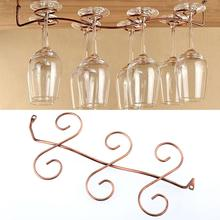 2017 New 6pcs Wine Glass Rack Stemware Under Cabinet Holder Hanger Shelf Bar Kitchen Display(China)