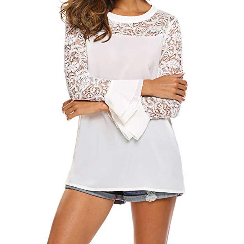女性ホワイトレースシフォンブラウスエレガントな女性長袖ルーズはセクシーな蝶の袖ブラウスシャツ Camisas Mujer