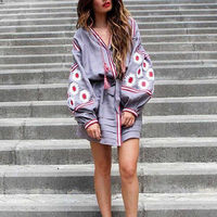 grey Floral Embroidery boho dress 2017 autumn vintage lantern long Sleeve knee length dresses Casual loose linen women dress