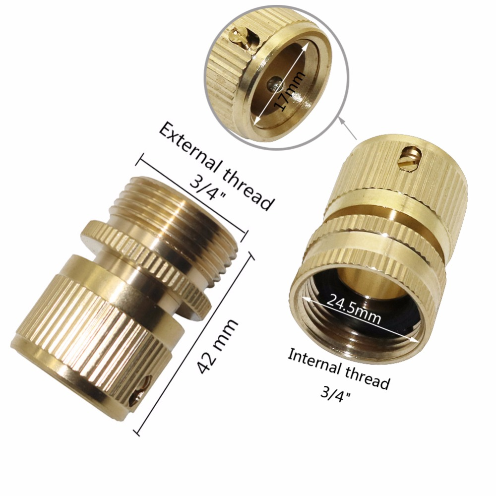 """Brass Hose Tap Connector 3//4 /"""" Threaded Garden Water Pipe Adaptor Fitting 24.5mm"""