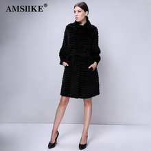 AMSIIKE Women Fur Coat Real Mink Fur With Rex Rabbit Fur Overcoat 2017 Winter Knitted Lining Warm Fashion Natural Fur Coat TD101(China)