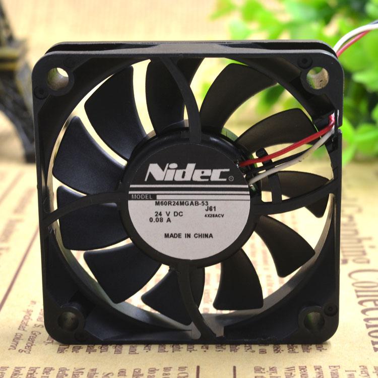 New original M60R24MGAB-53J56 24V 0.08A NIDEC 60 * 60 * 15 3-wire printer power supply fan