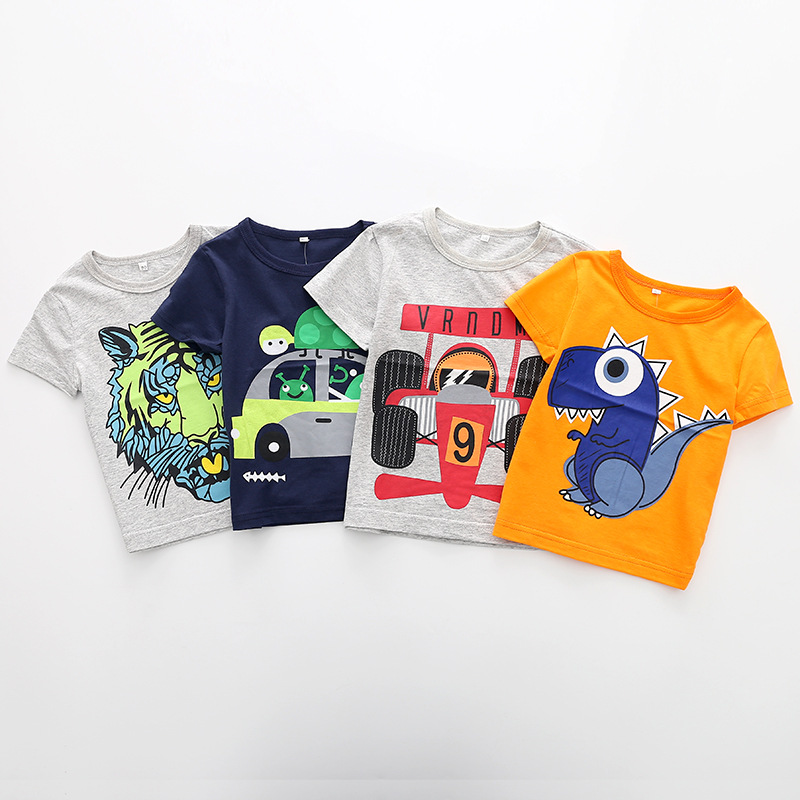 Baby Boy Tops Boys Sweatshirt Short Sleeve Cartoon Car Tigers T-shirt Casual Streetwear Childrens Summer Clothes Kids T-shirt