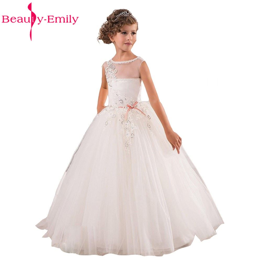 Christmas Girls Pageant Dresses Sheer Neck Beaded Appliques Flower ...