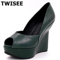 Platform Green Black Novelty Ladies Shoes Woman Sandals Wedges Heels 13 Cm Summer Sandals Rubber Beautiful