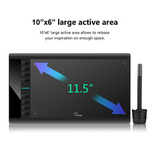 Parblo A610 10×6″ Graphics Tablet Art Drawing Tablets USB Support + Protective Film + Anti-fouling Glove + Spare Pen Nibs