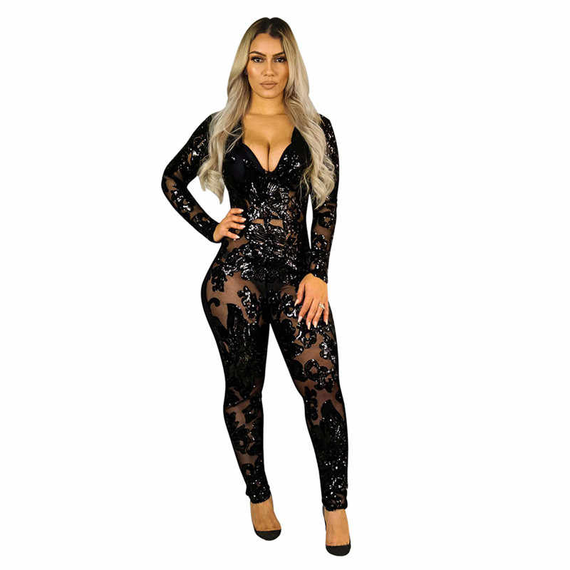 Прозрачный черный комбинезон с блестками для женщин с длинным рукавом блестящие облегающие комбинезоны сексуальный комбинезон блестящие Клубные вечерние комбинезоны спецодежда