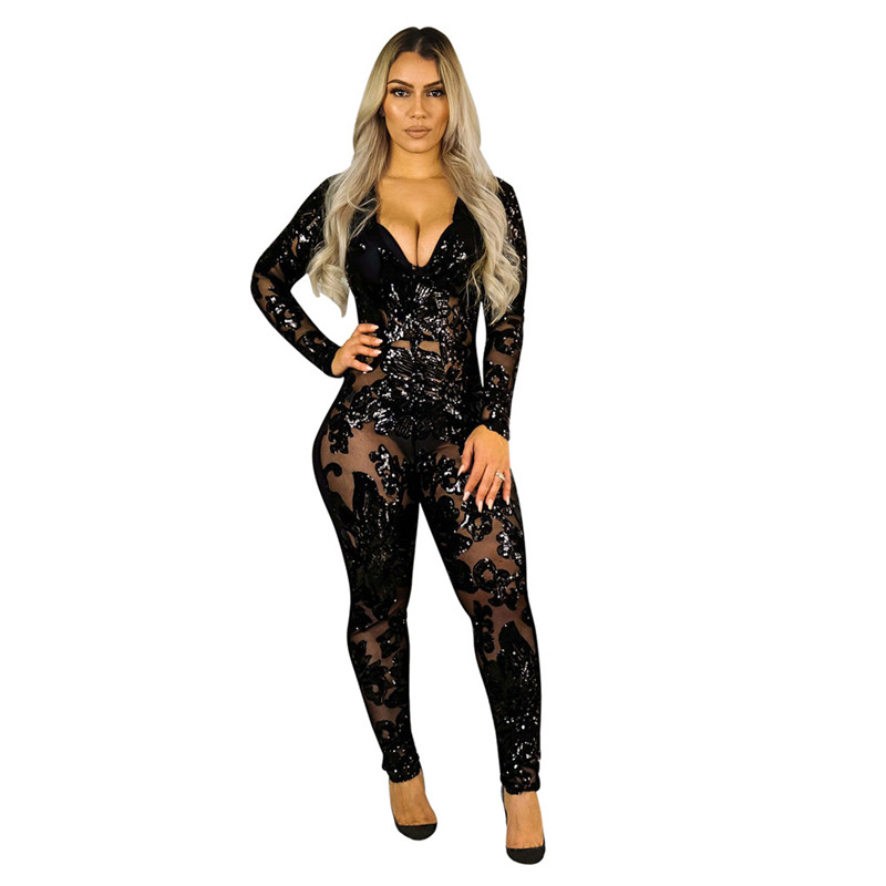 See Through Black Sequin Jumpsuit Women Long Sleeve Sparkly Bodycon Jumpsuits Sexy Rompers Glitter Club Party Jumpsuits Overalls in Jumpsuits from Women 39 s Clothing