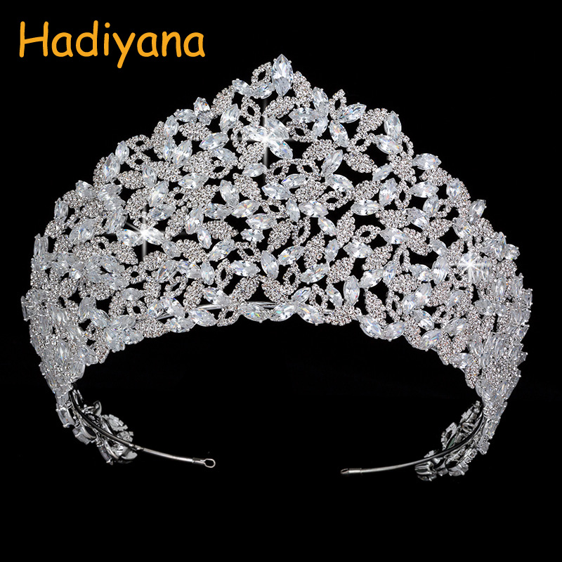 Hadiyana Luxury CZ Bridal Hair Accessories Crown Tiaras Sparkling Girls Big Diadem Crowns princess Queen Wedding Party BC4435 himstory luxury sparkling cz flower bridal tiaras crown hair accessories big diadem crowns for women girls wedding party holiday