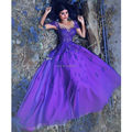 Purple Long Sleeve Lace Evening Dresses Party Dubai A Line Tulle Women Elegant Arabic Bridal Formal Evening Gowns Dresses