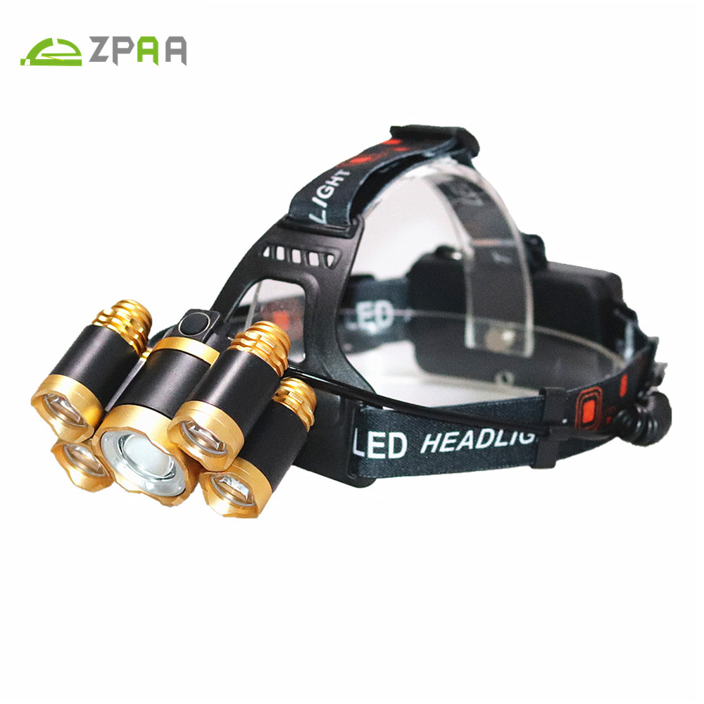 LED Headlamp Super Bright 5 LED Zoomable Headlight 4 Modes XML T6 LED Waterproof Head Torch Rechargeable 18650 Hunting Lights r3 2led super bright mini headlamp headlight flashlight torch lamp 4 models