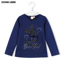 2016 New Fashion brand cute Baby Girl Clothes cartoon mouse Long Sleeve Rhinestone Cute kids T-Shirts Basic Cotton clothing