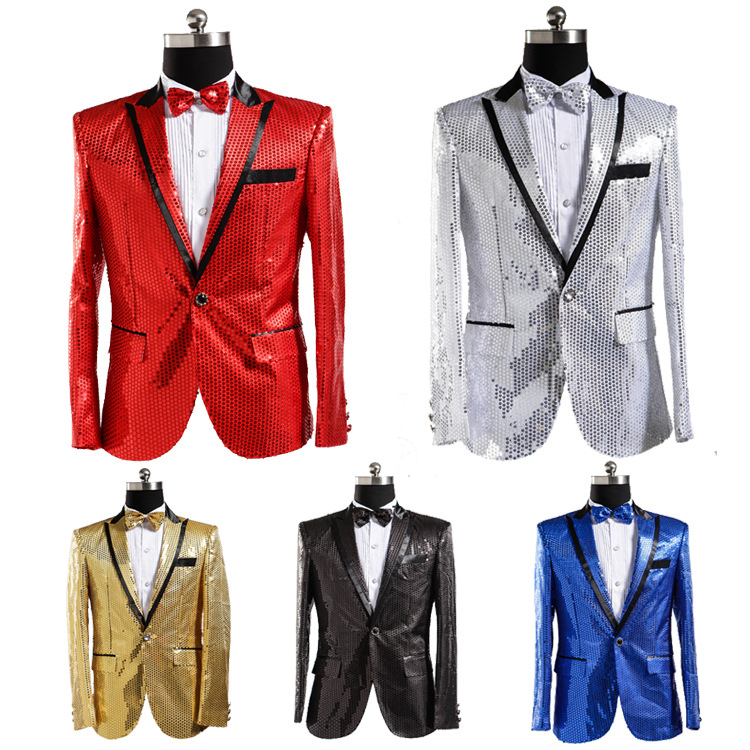 Sequin Suit Jacket Costume Single Breasted Casual White Red Blue Blazer Purple Pink Yellow Men Suits Para Caballero Blazers-in Blazers from Men's Clothing