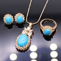 Fashion Jewelry Turquoise AAA Zircon Pendant Necklace Earrings Ring Set For Women Wedding Party Jewelry