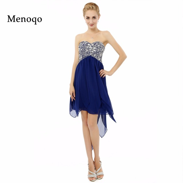 b9075570f2dccd Vestido de 15 anos curto 2019 Royal blue A line Chiffon Beaded Special  occasion Party Dress Short Real Sample Homecoming Dresses