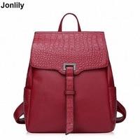 Genuine Leather Backpack Women Preppy Style Crocodile Backpack Girls School Bags Zipper Shoulder Women BackPack LI 1717