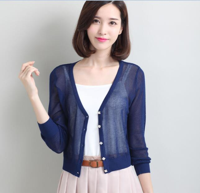 New summer & spring leisure style sexy hollow out knitwear ladies v-neck long sleeve thin knitted cardigan