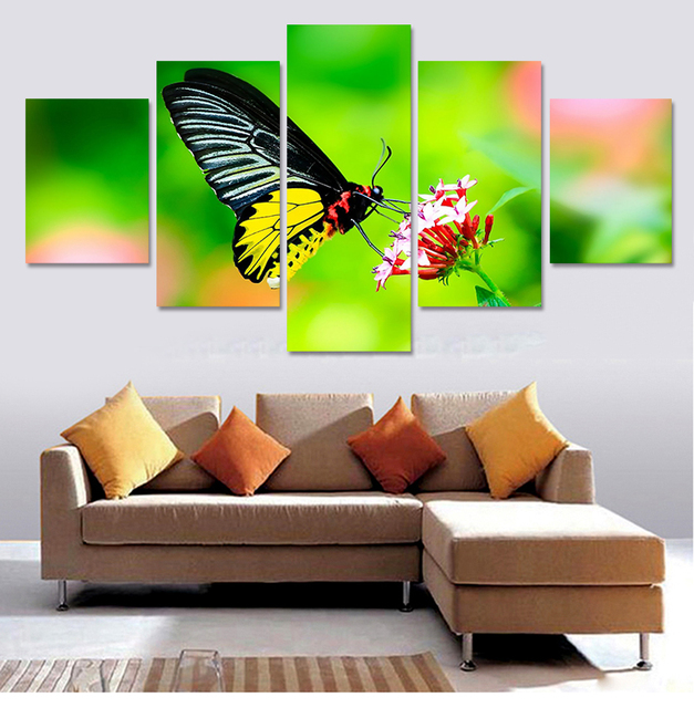 5 piezas (sin marco) la mariposa arte de la lona cuadros decoración ...