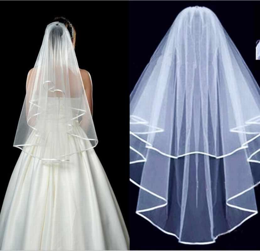 אלגנטי שתי שכבה כלה רעלה מסרק לבן חתונה קצה תחרה שנהב קתדרלת טול ארוך כלה רעלות עם מסרק