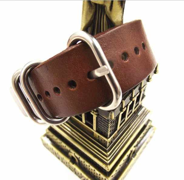 aad28dc19e2 1PCS High quality 18MM 20MM 22MM Nato strap genuine leather dark coffee color  Watch band NATO