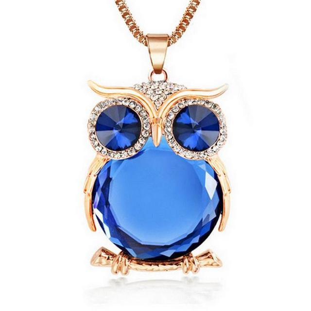 Trendy Owl Necklace With Rhinestone Crystals – 8 Colors