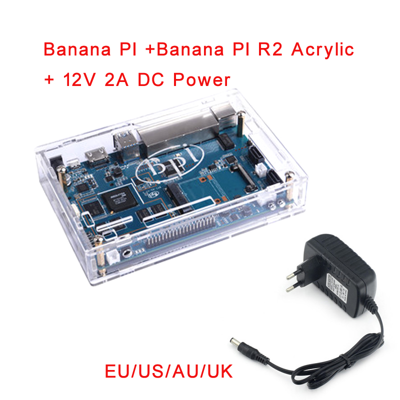 Banana Pi R2 BPI-R2 Quad-Core 2GB RAM With SATA WiFi Bluetooth 8GB EMMC Demo Single Board+Acrylic Case+12V 2A DC Power