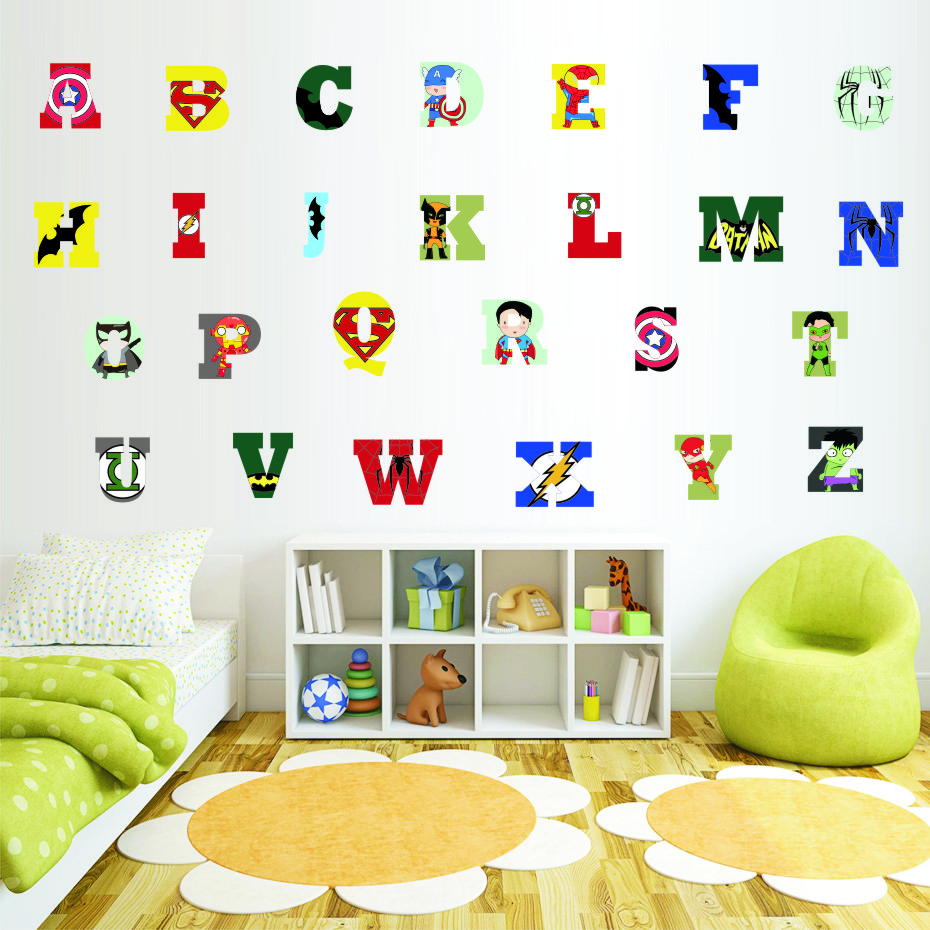 Creative Super Hero Style Alphabet ABC Wall Decal 26 Letters DIY Art Vinyls Stickers Nursery Kids Room Home Decorative Wallpaper (2)