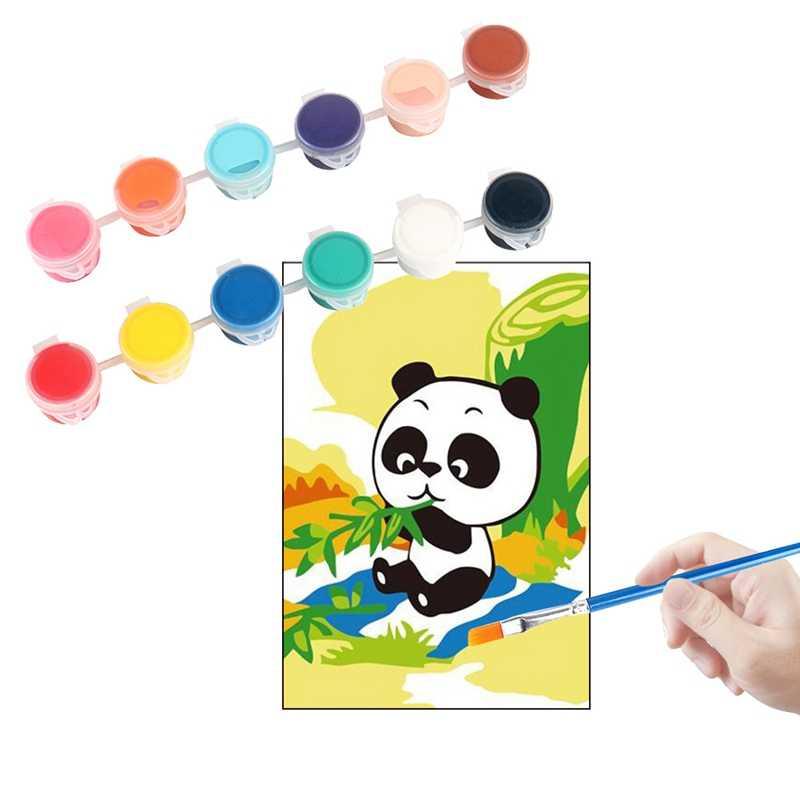 Juego de pigmento de pinturas acrílicas de 6/12 colores para ropa tela textil pintado a mano pintura de yeso dibujo para regalo de niños