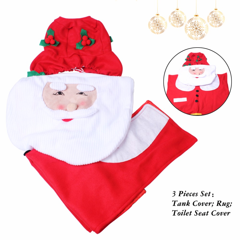 Set Of 3 Santa Claus Toilet Covers Christmas Decorations Set With Toilet Seat Cover Tank Cover And Rug Bathroom Decorations (6)