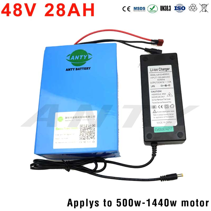 Electric Bicycle Battery Pack 18650 Cell 48V 28Ah 1440W Lithium Battery Built-in 30A BMS eBike Battery 2A Charger DIY Battery 48v 34ah triangle lithium battery 48v ebike battery 48v 1000w li ion battery pack for electric bicycle for lg 18650 cell