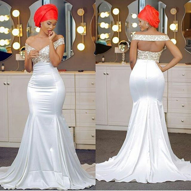 2017 Trumpet Long Evening Dresses Sexy Backless Nigeria Prom Gowns ...