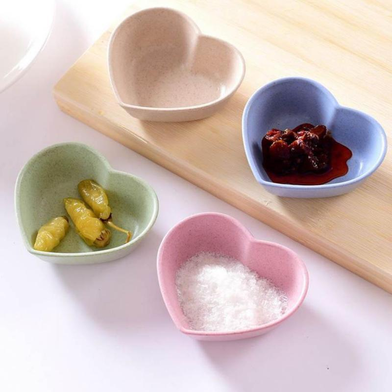 1PC Creative Lovely Heart Shape Fruit Snack Sauce Bowl Kids Feed Food Icecream Container Tableware Dinner Plates S4