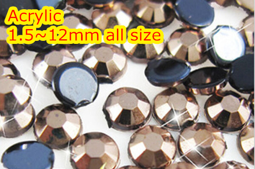 Copper 1.5~12mm Flat Back Round Acrylic rhinestone,Acrylic Resin 3D Nail Art / Garment Rhinestone