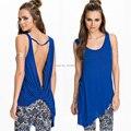 Sexy Backless Top tee camisetas talles para las mujeres Del Verano ocasional sin mangas y espalda abierta azul superior camiseta de las mujeres