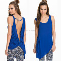 Sexy Backless Top tee shirts women plus size Summer sleeveless casual open back top blue t-shirt women